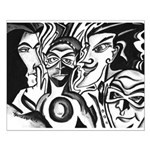 Black and White Comic Relief Small Poster