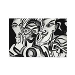 Black and White Comic Relief Rectangle Magnet