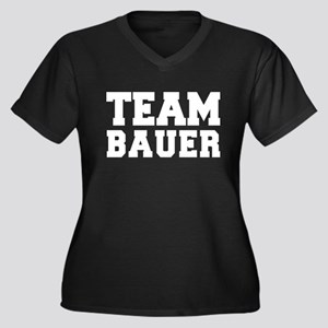 TEAM BAUER Women's Plus Size V-Neck Dark T-Shirt