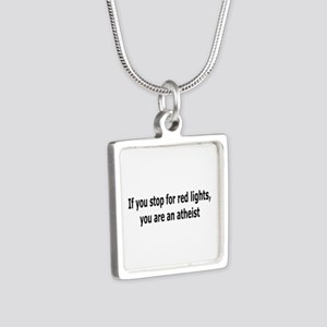 Red Lights Atheist Silver Square Necklace
