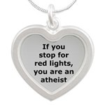 Red Lights Atheist Silver Heart Necklace