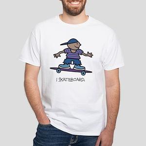 I Skateboard White T-Shirt (Child - Adult 4X)