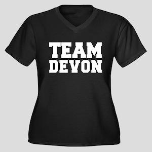 TEAM DEVON Women's Plus Size V-Neck Dark T-Shirt