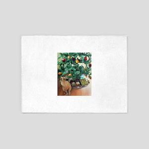 Burmese Cat and Christmas Tree 5'x7'Area Rug
