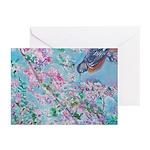 Robin Cherry Blossom Greeting Cards