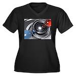 Abstract Camera Lens Women's Plus Size V-Neck Dark