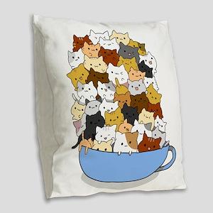 Full Cats Burlap Throw Pillow