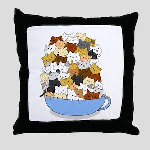 Full Cats Throw Pillow