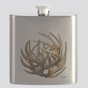 Whitetail Buck Deer Antler Art Cluster Flask
