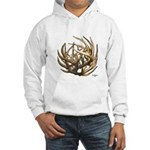 Whitetail Buck Deer Antler Art Cluster Hooded Swea