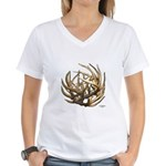 Whitetail Buck Deer Antler Art Cluster Women's V-N