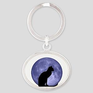 Black Cat, Blue Moon Oval Keychain