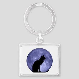 Black Cat, Blue Moon Landscape Keychain