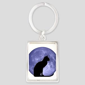 Black Cat, Blue Moon Portrait Keychain
