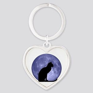 Black Cat, Blue Moon Heart Keychain