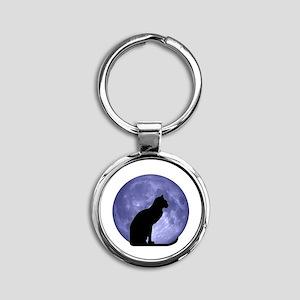 Black Cat, Blue Moon Round Keychain