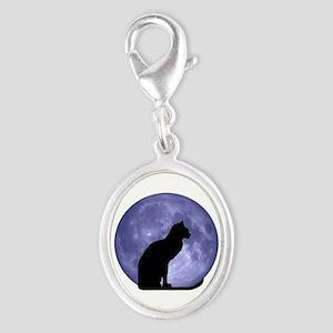 Black Cat, Blue Moon Silver Oval Charm