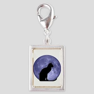 Black Cat, Blue Moon Silver Portrait Charm