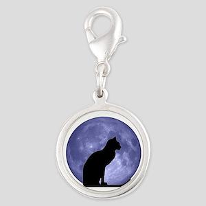 Black Cat, Blue Moon Silver Round Charm