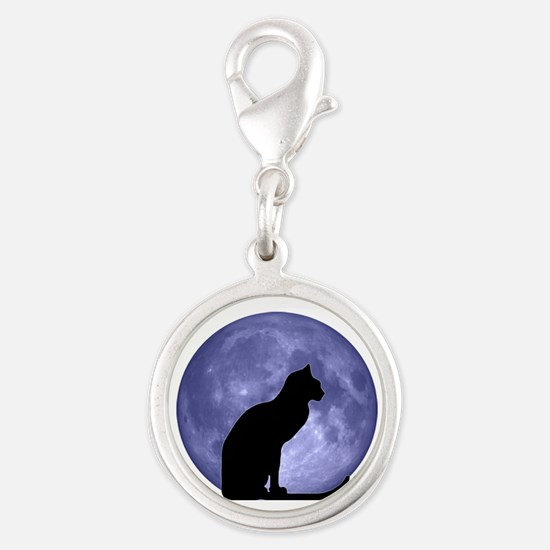 Black Cat, Blue Moon Silver Round Charm