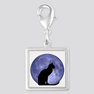 Black Cat, Blue Moon Silver Square Charm