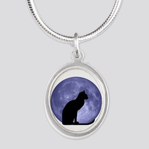 Black Cat, Blue Moon Silver Oval Necklace