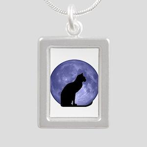 Black Cat, Blue Moon Silver Portrait Necklace
