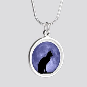 Black Cat, Blue Moon Silver Round Necklace