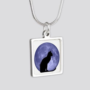 Black Cat, Blue Moon Silver Square Necklace
