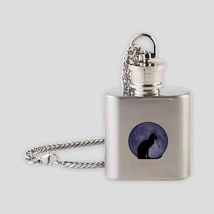 Black Cat, Blue Moon Flask Necklace