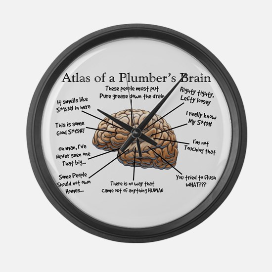 Atlas of a Plumbers Brain.PNG Large Wall Clock