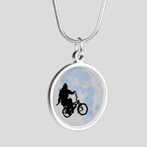 Bigfoot on bicycle Silver Round Necklace