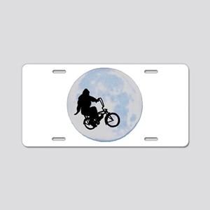 Bigfoot on bicycle Aluminum License Plate