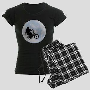 Bigfoot on bicycle Women's Dark Pajamas
