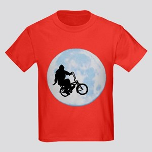 Bigfoot on bicycle Kids Dark T-Shirt