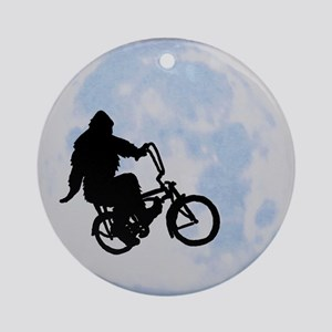Bigfoot on bicycle Ornament (Round)