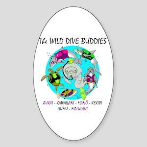 Wild Dive Buddies Oval Sticker