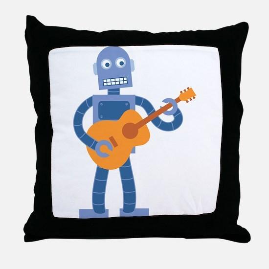 Guitar Robot Throw Pillow