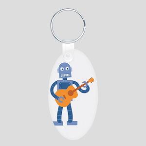 Guitar Robot Aluminum Oval Keychain