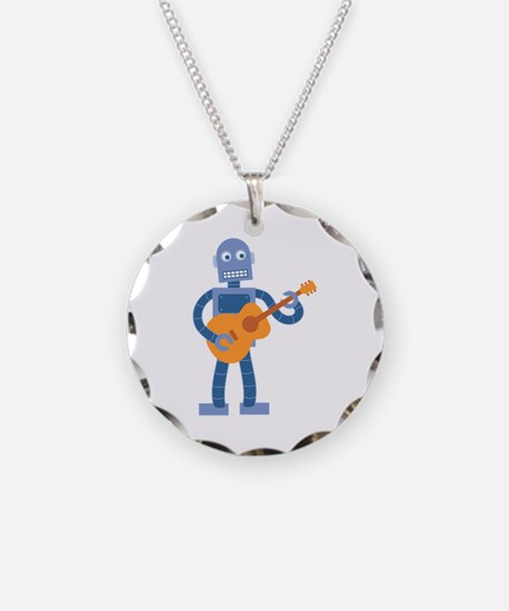 Guitar Robot Necklace Circle Charm