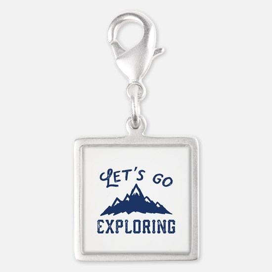 Let's Go Exploring Silver Square Charm