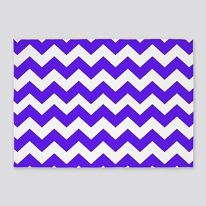 Blue and White Chevron 5'x7'Area Rug