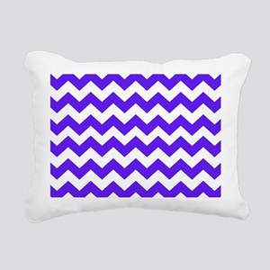 Blue and White Chevron Rectangular Canvas Pillow