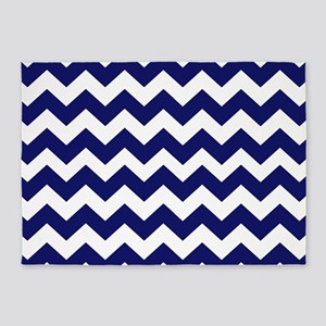 Navy Blue Chevron 5'x7'Area Rug
