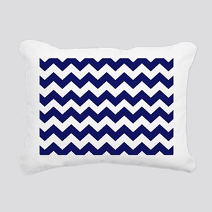 Navy Blue Chevron Rectangular Canvas Pillow