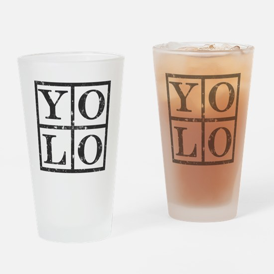 Yolo Distressed Drinking Glass