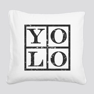Yolo Distressed Square Canvas Pillow
