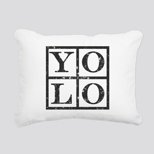 Yolo Distressed Rectangular Canvas Pillow