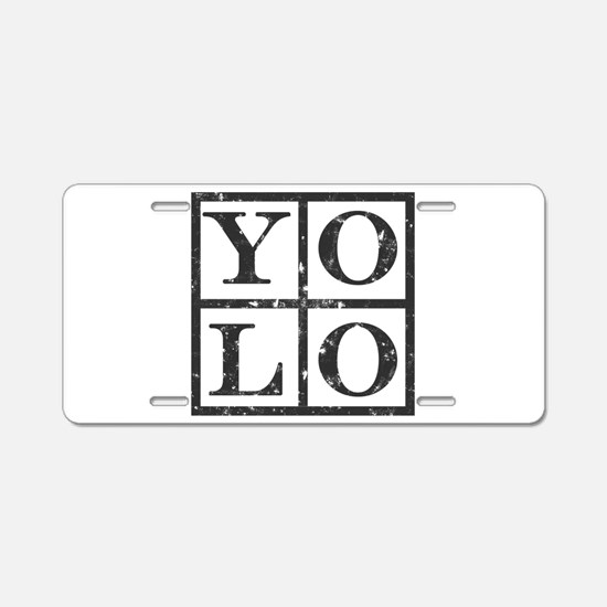 Yolo Distressed Aluminum License Plate
