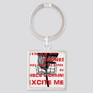 Discs and Chains Excite Me Square Keychain